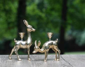Pair of Vintage Solid Brass Deer Candle Holders / Christmas Deer Candle Holders / Brass Christmas Deer