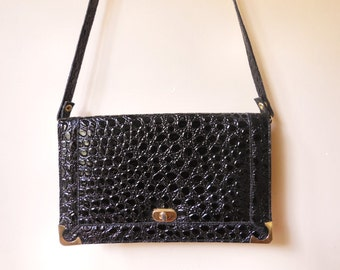 vintage black patent faux croc crossbody bag purse clutch