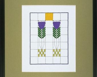 Dard Hunter Arts & Crafts Purple Poppies Cross Stitch PDF Chart
