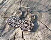 64 Tetrahedron Cast Bronze Earrings - Sacred Geometry - Healing