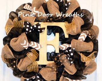 Black monogram wreath - Gold Monogram wreath - Wreath for front door - Initial wreath - Letter wreath - Burlap monogram wreath