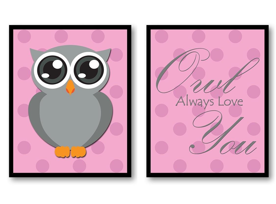 Owl Always Love You Nursery Art Nursery Print Set of 2 Polka Dots Pink Grey Child Prints Girl Kids R