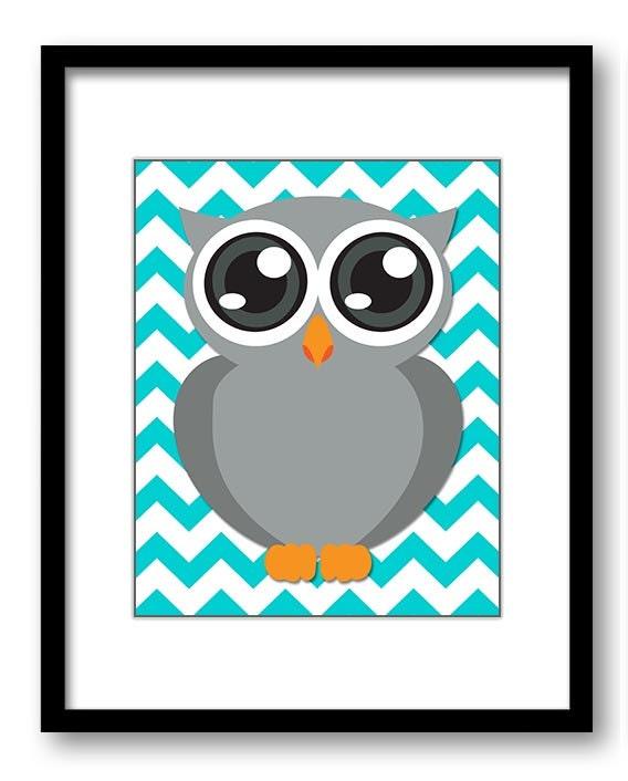 Blue Turquoise Grey Owl Nursery Art Nursery Print Baby Art Chevron Baby Animal Owl Print Kids Wall A
