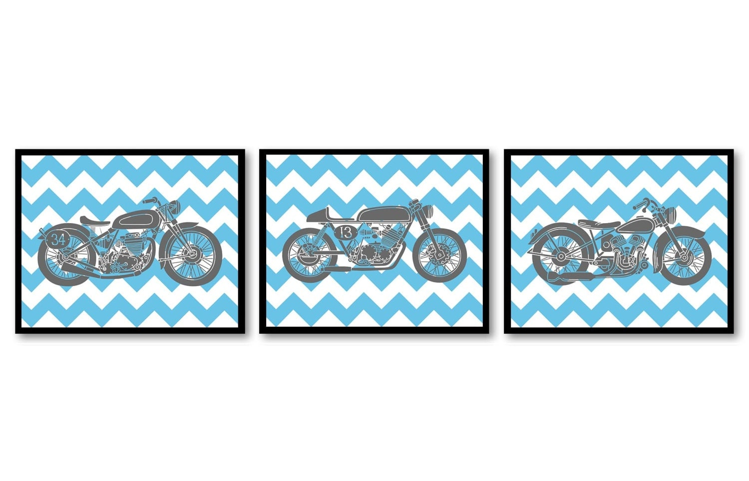 Motorcycle Nursery Art Nursery Prints Transportation Set of 3 Prints Turquoise Blue Grey Chevron Boy