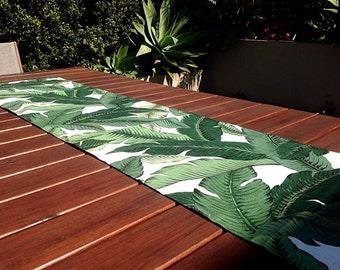 Table Runner Tropical Decor Outdoor Decor, Banana Leaf, Palms Tropical  Coastal Decor. Vintage