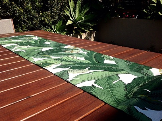 Table runner tropical decor outdoor decor banana leaf palms for Tropical outdoor decorating ideas