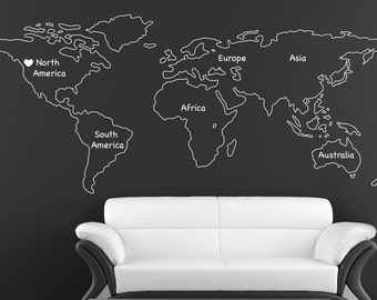 Outlined World Map Decal With Continents Vinyl Wall Sticker Decals Home  Decor Wall Decals Stick On