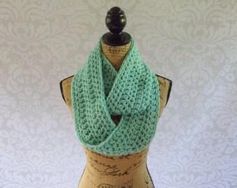 Infinity Scarf Crochet Knit Winter Ocean Sea Green Mint Women's Accessories Eternity Fall Winter