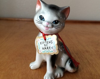 Grey, Black and White Porcelain Cat Figurine Named Cuttie Pie - Kitten's by Karen