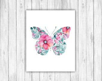 Floral butterfly, Nursery Print, Girls room art, flower print, Kids room, Decor, Nursery art, teen girl - Flowers and butterflies