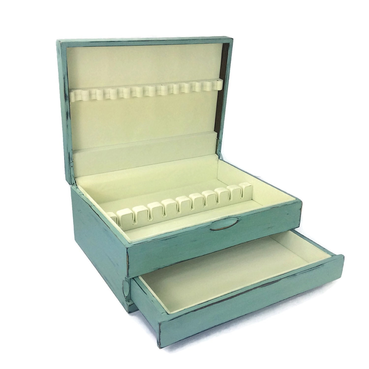 Beautiful flatware holder silverware box wood flatware box for Box for flatware storage