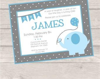 Light Blue and Gray Elephant Birthday Invite