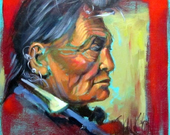 SEES CROW - Crow Indian Portrait on Canvas