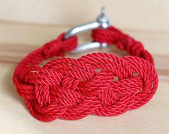 Stylish rope bracelet, beautiful rope knot bracelet, easy fit wristlet, nautical red rope bracelet with shackle