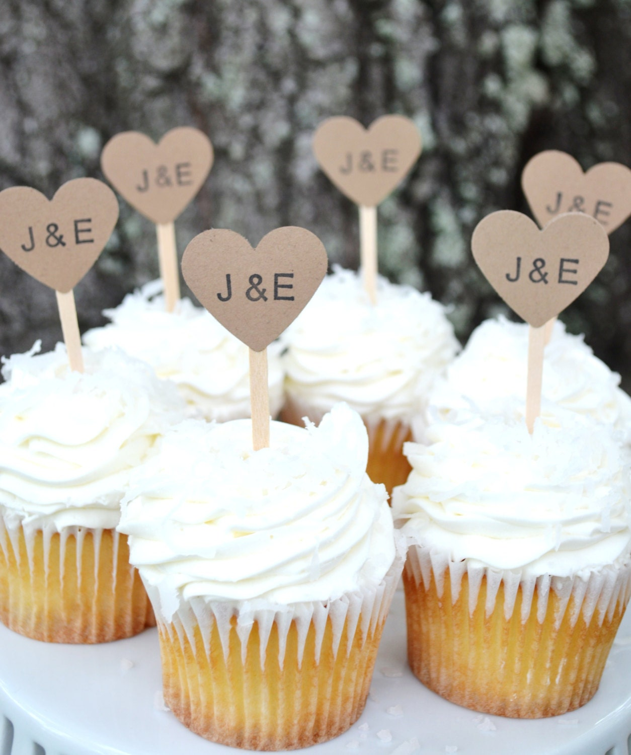Cupcake Ideas For Wedding: Kraft Heart Wedding Cupcake Toppers Kraft Custom Initial