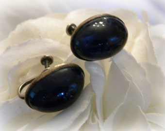 Antique Blue Glass Cabochan Earring Screw Back Beauties, ca. 1920