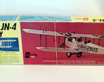 Vintage Model Airplane Kit, Sterling Models, Balsa Wood, Curtiss JN-4 Jenny, 1960's vintage
