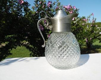 Vintage Water Carafe, Pitcher, Clear Diamond Cut Glass