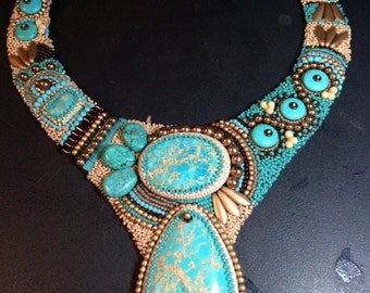 SOLD. Bead embroidery necklace.