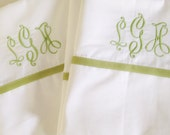 Monogram Queen Sheet Set with Ribbon Trim / Monogram Bedding / Queen Sheets / Wedding Gift