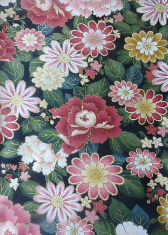 Cotton Fabric Quilt Home Decor Floral AsianGionby Anna