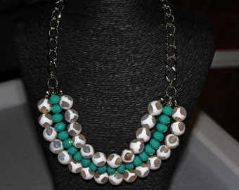 White Marble and Teal Necklace