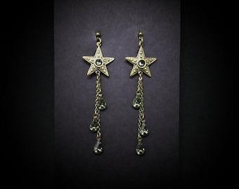 Star Earrings Black Diamond Swarovski Antiqued Brass FREE SHIPPING USA