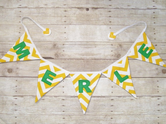 Yellow Chevron Banner / Name Banner / Green and yellow banner / Yellow Name banner / party banner / baby shower banner