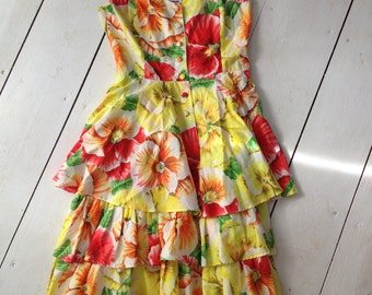 Rodier Paris Vintage Floral Tiered Ruffle Strapless Dress