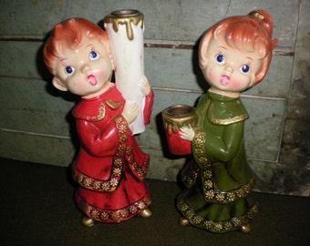 Vintage Choir Boy and Girl Christmas Candleholders