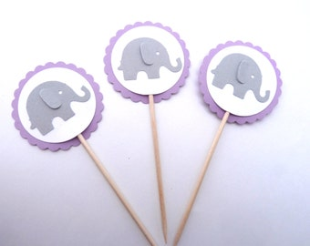 24 Baby Elephant Cupcake Toppers, Boy Girl Newborn, Lavender Baby Shower, Paper Toothpick Party Picks, Ships in 3-5 Business Days