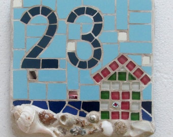 Mosaic house number, made to order with variety of sizes, colours and themes available