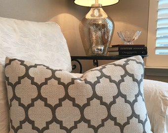 Taupe Pillow Cover-Geometric Design Pillow-Decorative Pillow Cover- Ivory Pillow-With Invisible Zipper-Quatrefoil Pillow Cover-16X26 Lumbar