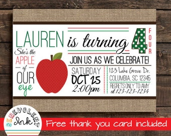 Apple Birthday Invitation - Fall Birthday Invitation - Apple Theme Party Invite - Birthday Party Printable - First Birthday Invitation