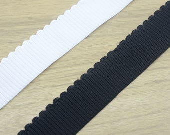 1.5inch 38mm wide Comfortable Black Plush Elastic , White Plush Elastic Band, Waistband Elastic,Sewing Elastic with Wavy Edge 41010 41020