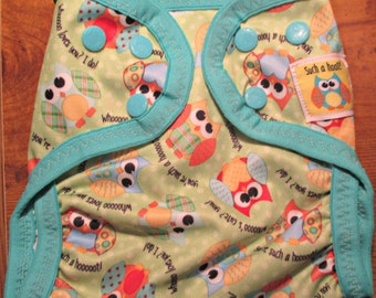 "Diaper Cover, Babyville Boutique, ""Playful Friends"" Owl pattern"