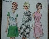 1960s Dress Pattern Butterick 4162 Bust 34 Dress Womens Vintage Sewing Patterns