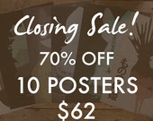 70% off 10 Movie Posters, Closing sale