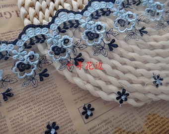 11cm wide blue flower mesh embroidery lace trim ribbon 2 yards