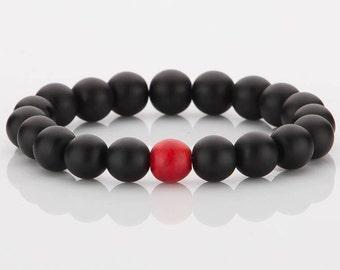 10 MM Matt black Onyx Bead With Red Coral Bead Bracelet