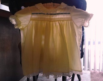 1960's Sheer Yellow  Baby Dress ~ Vintage 60's Yellow Toddler Dress ~ Vintage Yellow Toddler Dress ~ yellow large doll dress
