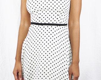 Vintage Black and White Polka Dot Dress