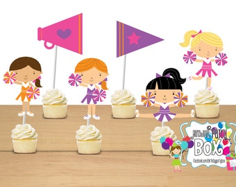Cheerleader party cupcake toppers - set of 24