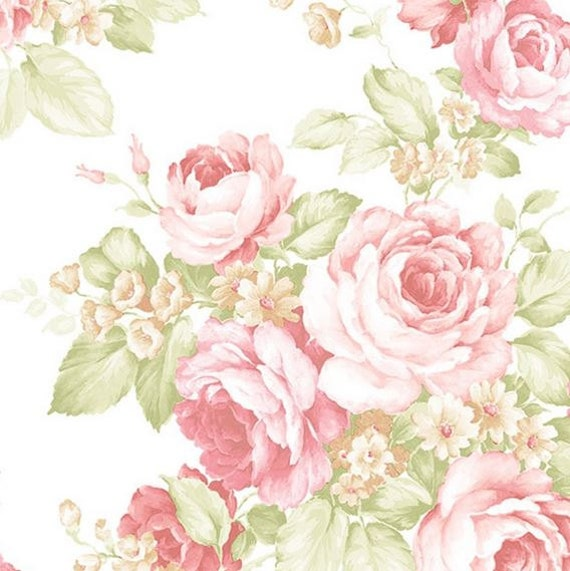 Pink and Green Garden Garden Bouquet Wallpaper Vintage