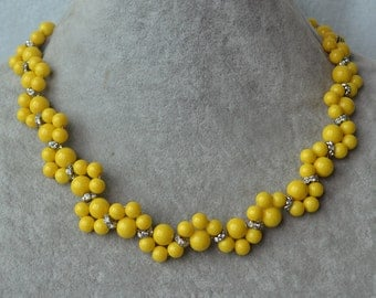 yellow Necklace,Glass Pearl Necklace,yellow Pearl flower Necklace,Wedding Necklace,bridesmaid jewelry, yellow bead necklace, cheap pearl