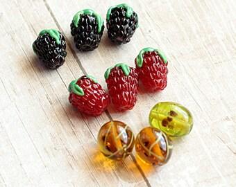 Glass Berry Beads, lampwork berry, glass beads, gooseberries, glass blackberry, lampwork beads, murano glass, flamework, jewelry making