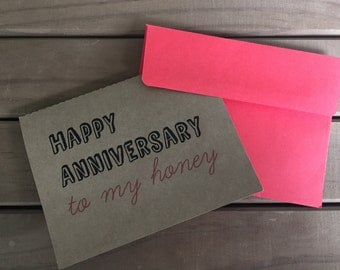 Happy Anniversary Honey Card, Greeting Card, Red Envelope, Love Card, Love Note, Cate Crafts, Spouse Card, Happy Anniversary, Kraft Card
