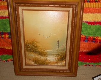 "Vintage Lighthouse Beach Dunes Canvas Painting 23.5"" Wood Frame Signed Mackey"
