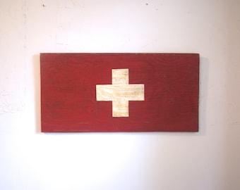 Switzerland Wood Flag Sign - Switzerland sign - flag sign - outdoor sign - outdoor wooden flag - Switzerland sign - Swiss flag - Swiss flag