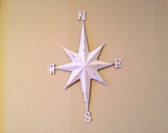 Nautical compass white distressed, large 23 inch, metal wall decor